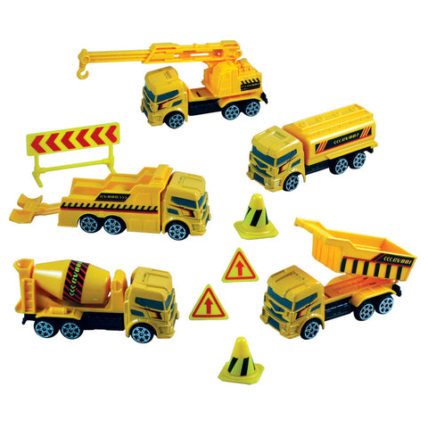 10-Piece 1:64 Scale Playset that comes in a Backpack Carry Case Featuring 5 Die Cast Metal Construction Vehicles with Moving Parts, Plastic Accessories, and Realistic Playmat by RedBox / Motormax.