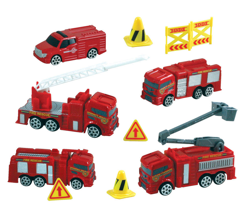 This WowToyz backpack playset comes with eight high quality diecast metal emergency vehicles and various plastic accessories. Set includes everything that's needed for a fun fantasy playtime, then when kids are done, they can pack their toys up and carry them away! Reusable backpack for toy storage by RedBox / Motormax.