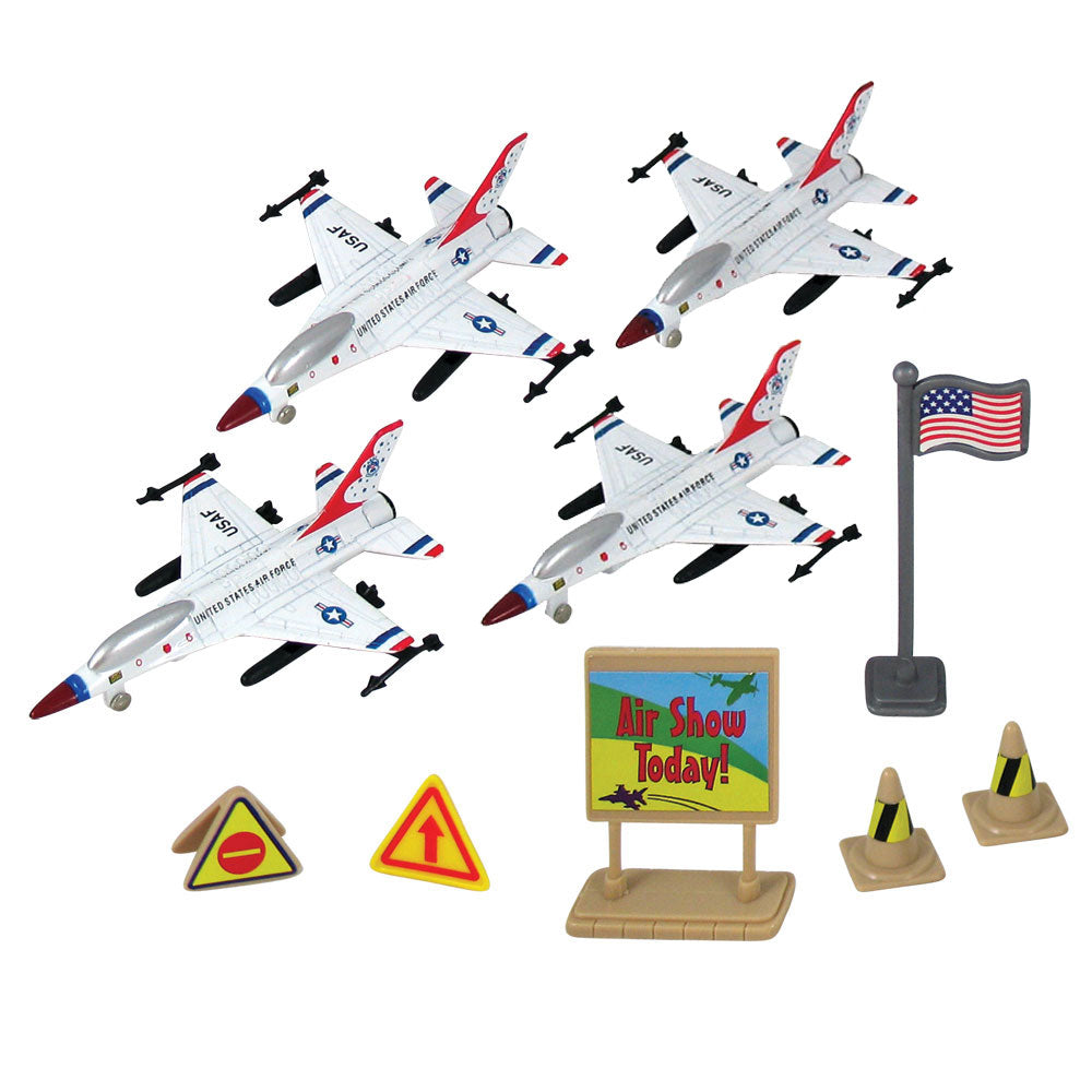 F-16 Fighting Falcon Thunderbirds toy jet airplanes. Kids can bring the air show home and reenact the aviation aerobatics of the F-16 Thunderbirds with this playset! Comes with high quality diecast metal airplanes, plastic accessories and realistic playmat. Set includes everything that's needed for a fun fantasy playtime - toys store in reusable backpack! InAir officially licensed Lockheed jets RedBox / Motormax.