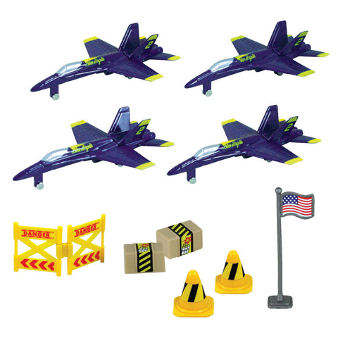 10-Piece 1:64 Scale Playset that comes in a Backpack Carry Case Featuring 4 Die Cast Metal F-18 Hornet Blue Angels Airplanes, Plastic Accessories, and Realistic Playmat by RedBox / Motormax.