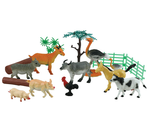 15-Piece Playset that comes in a Backpack Carry Case Featuring 10 Colorful Plastic Farm Animals, Trees, Logs, Fencing and a 12 x 17 inch Playmat.