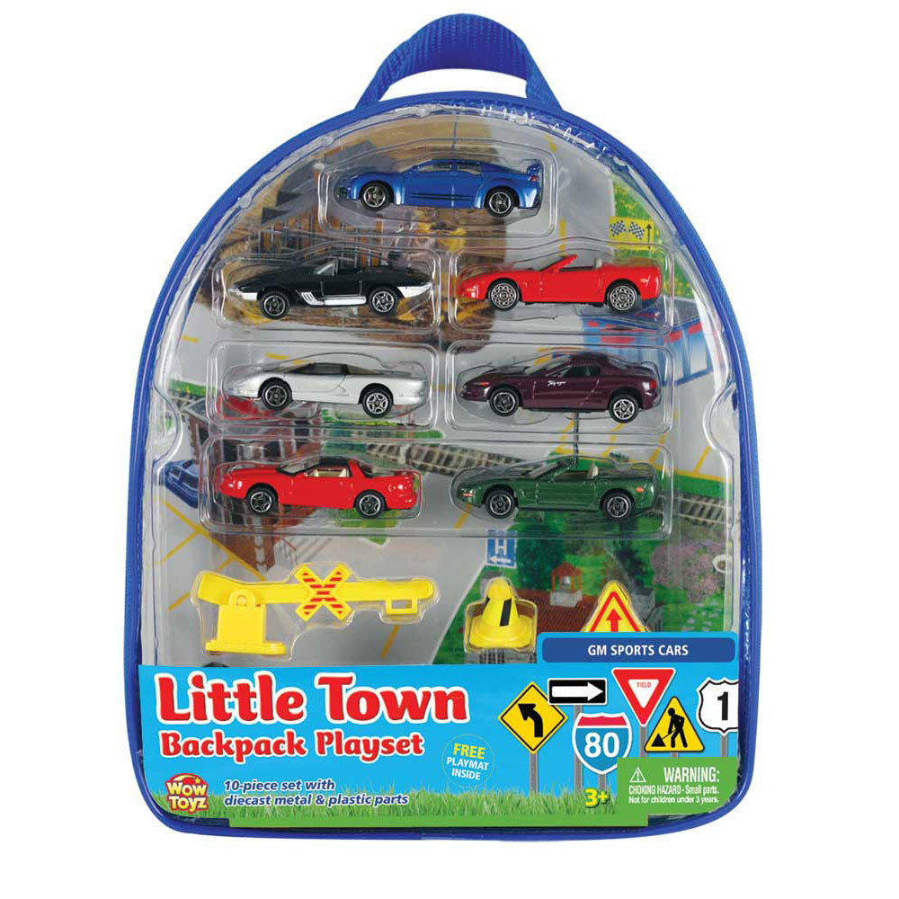 Officially Licensed 10-Piece 1:64 Scale Playset that comes in a Backpack Carry Case Featuring 7 Die Cast Metal GM (General Motors) Cars with Moving Parts, Plastic Accessories, and Realistic Playmat WowToyz Backpack Playset RedBox / Motormax.