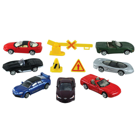 Officially Licensed 10-Piece 1:64 Scale Playset that comes in a Backpack Carry Case Featuring 7 Die Cast Metal GM (General Motors) Cars with Moving Parts, Plastic Accessories, and Realistic Playmat by RedBox / Motormax.