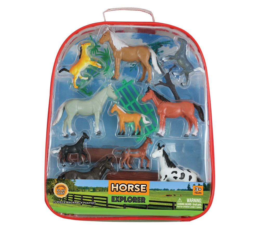 15-Piece Playset that comes in a Backpack Carry Case Featuring 10 Colorful Plastic Horses, Trees, Logs, Fencing and a 12 x 17 inch Playmat.
