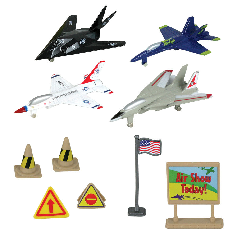 WowToyz Modern toy airplanes - 10-Piece 1:64 Scale Playset that comes in a Backpack Carry Case Featuring 4 Die Cast Metal Modern Stealth and Fighter Aircraft with Moving Parts, Plastic Accessories, and Realistic Playmat by RedBox / Motormax. F-117 Nighthawk, F/A-18 Hornet Blue Angels, F-16 Fighting Falcon Thunderbirds, and F-14 Swing Wings Tomcat.