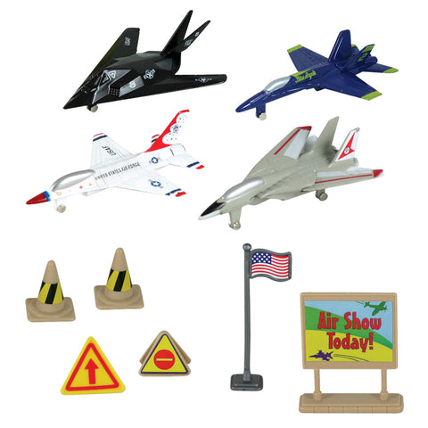 10-Piece 1:64 Scale Playset that comes in a Backpack Carry Case Featuring 4 Die Cast Metal Modern Stealth and Fighter Aircraft with Moving Parts, Plastic Accessories, and Realistic Playmat by RedBox / Motormax. F-117 Nighthawk, F/A-18 Hornet Blue Angels, F-16 Fighting Falcon Thunderbirds, and F-14 Sweep Wing Tomcat.