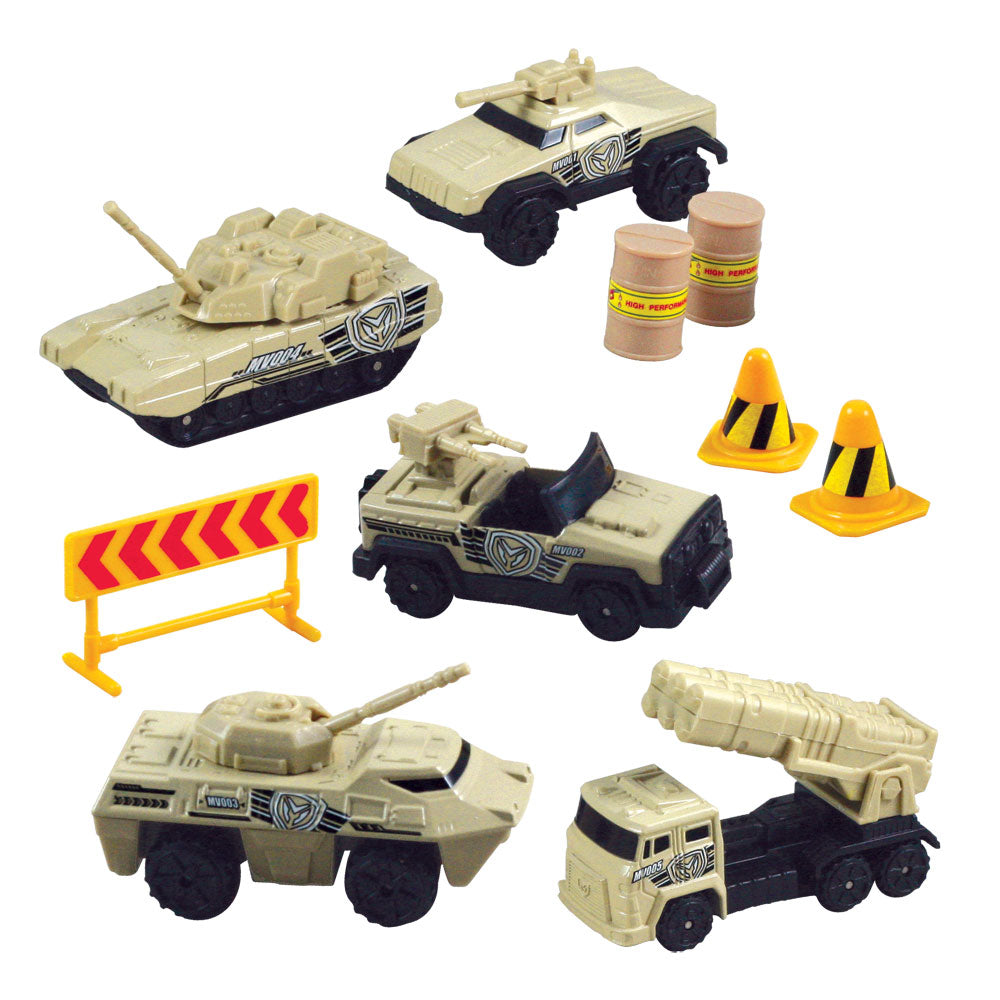 10-Piece 1:64 Scale Playset that comes in a Backpack Carry Case Featuring 5 Die Cast Metal Military Vehicles and Tanks with Moving Parts, Plastic Accessories, and Realistic Playmat by RedBox / Motormax.