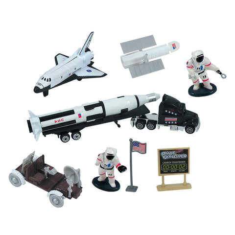 10-Piece 1:64 Scale Playset that comes in a Backpack Carry Case Featuring Space Shuttle Orbiter, Saturn V Rocket with Payload Tow Truck, Lunar Rover, Satellite, 2 Astronauts, Plastic Accessories, Realistic Playmat and Rocketry Poster  by RedBox / Motormax.