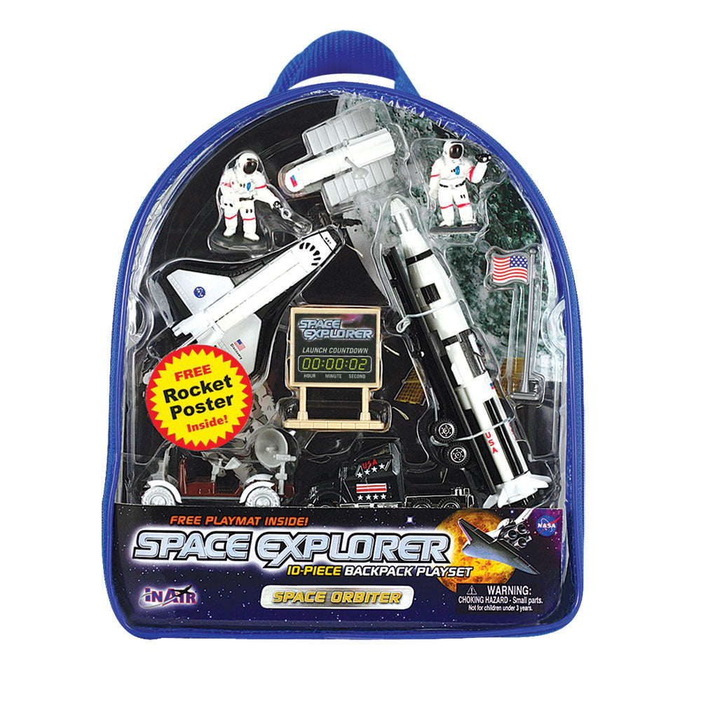 Young space enthusiasts will love this best selling Space Explorer backpack playset which features high quality diecast metal and plastic aircraft modeled after actual NASA designs! Set also features an educational 100 Years of Rocketry Poster. Reusable backpack for toy storage. WowToyz Backpack Playset with InAir diecast toy airplanes RedBox / Motormax.