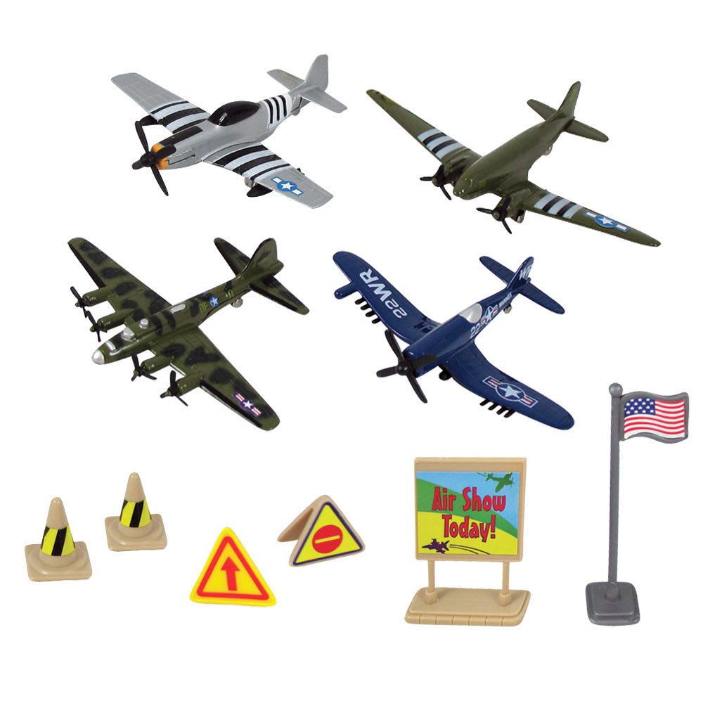 10-Piece 1:64 Scale Playset that comes in a Backpack Carry Case Featuring 4 Die Cast Metal World War II Fighter & Bomber Aircraft with Moving Parts, Plastic Accessories, and Realistic Playmat by RedBox / Motormax. P-51 Mustang, C-47 Skytrain (DC-10), B-17 Flying Fortress, F4U Corsair.