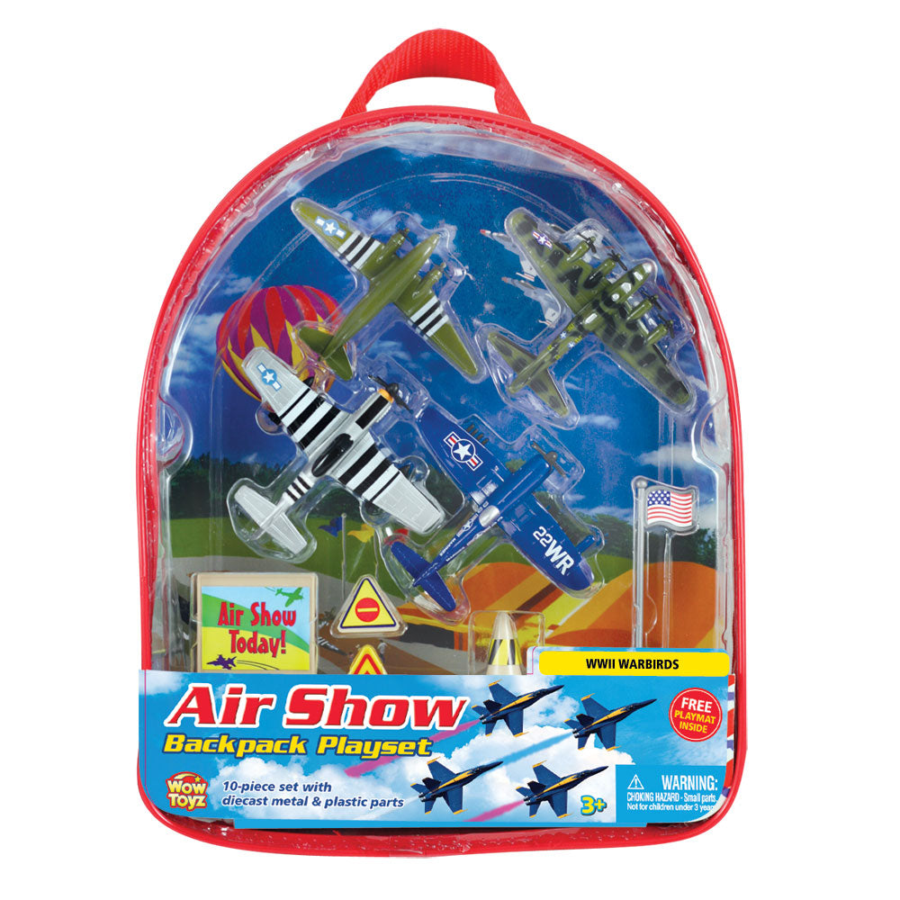 10-Piece WowToyz Backpack Playset Featuring 4 Diecast Metal World War II Fighter & Bomber Toy Airplanes and Plastic Accessories, and Realistic Playmat by RedBox / Motormax. P-51 Mustang, C-47 Skytrain (DC-10), B-17 Flying Fortress, F4U Corsair.