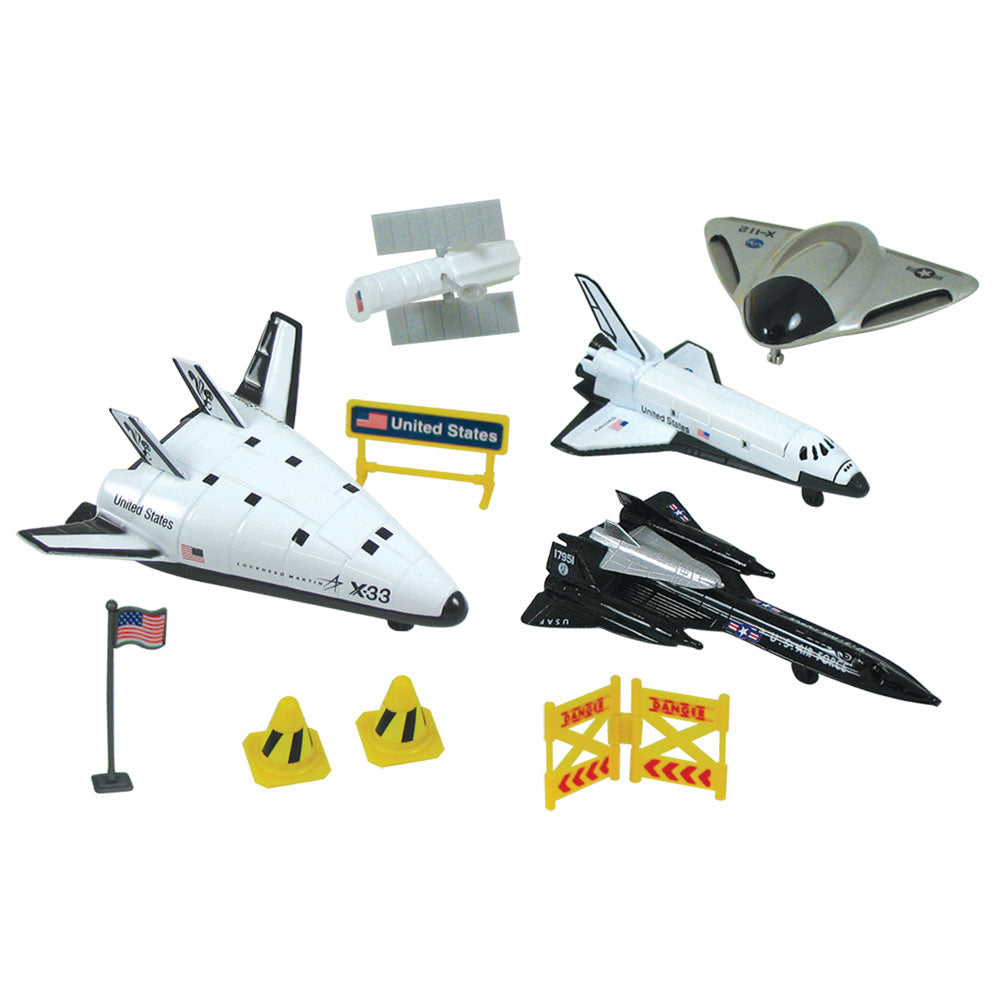 The allure of American X-planes come to life with this playset! It comes with four 4.5 inch diecast metal toy airplanes and spacecraft as well as plastic accessories. Set also features a realistic playmat with space facts on the back and includes our educational 100 Years of Rocketry Poster. Deluxe 10 piece set. Reusable backpack for toy storage. WowToyz Backpack Playset with InAir toy airplanes RedBox / Motormax.