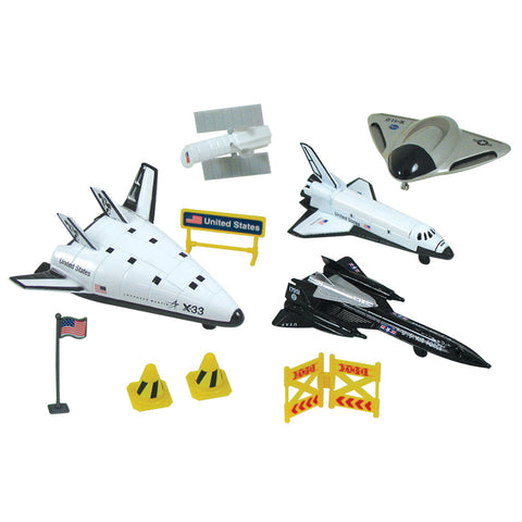 10-Piece 1:64 Scale Playset that comes in a Backpack Carry Case Featuring Die Cast NASA Space Shuttle Orbiter, Die Cast X-33 Spaceplane, SR-71 Blackbird, Satellite, Plastic Accessories, and Realistic Playmat by RedBox / Motormax.