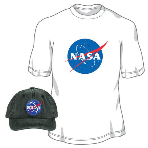 Pigment Dyed 100% Washed Cotton Black Adjustable Buckle Strap Closure One Size Fits All Baseball Dad Hat and 100% Preshrunk, Heavyweight Cotton White T Shirt both featuring the Official NASA Logo Insignia.
