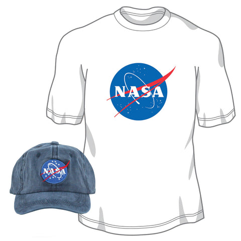 Pigment Dyed 100% Washed Cotton Blue Adjustable Buckle Strap Closure One Size Fits All Baseball Dad Hat and 100% Preshrunk, Heavyweight Cotton White T Shirt both featuring the Official NASA Logo Insignia.