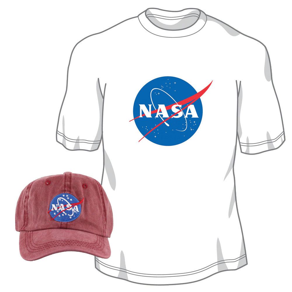 Pigment Dyed 100% Washed Cotton Maroon Adjustable Buckle Strap Closure One Size Fits All Baseball Dad Hat and 100% Preshrunk, Heavyweight Cotton White T Shirt both featuring the Official NASA Logo Insignia.