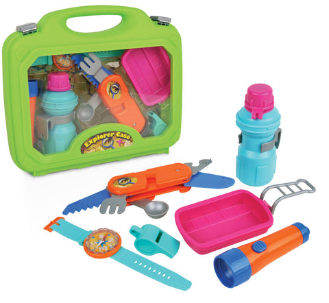 Deluxe 6 Piece Children's Playset including a Working Flashlight, Multi-Functional Camping Utensil Tool, Water Bottle with Belt Clip, Working Compass Watch, and Whistle which all comes in a Convenient Carry Case.