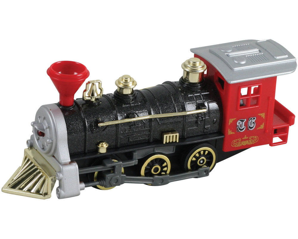 7 Inch Long Red Durable Die Cast Metal and Plastic Steam Locomotive Train featuring Friction Powered Pullback Action and Working Side Rails.