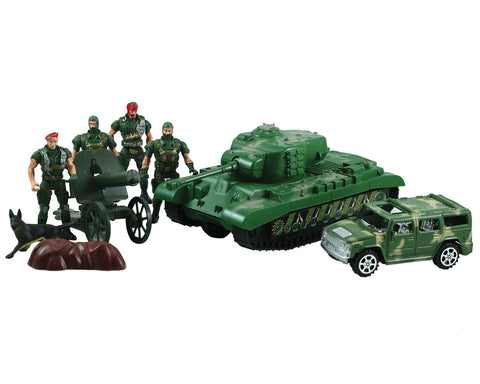 9 Piece Plastic Playset Featuring an 8 inch Tank with Moving Turret and Pullback Action, Military Humvee, Cannon, 4 Posable Soldiers and a K-9 Dog by Classic Armour.