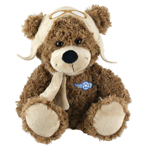 Super Soft Highly Detailed Plush Stuffed Animal Aviator Bear with Cap, Scarf and Embroidered Insignia measuring 12 inches Tall by Cuddle Zoo.