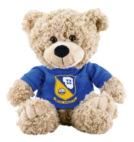 Super Soft Highly Detailed Plush Stuffed Animal Teddy Bear wearing a Blue Angels Logo T-Shirt measuring 12 inches Tall by Cuddle Zoo.