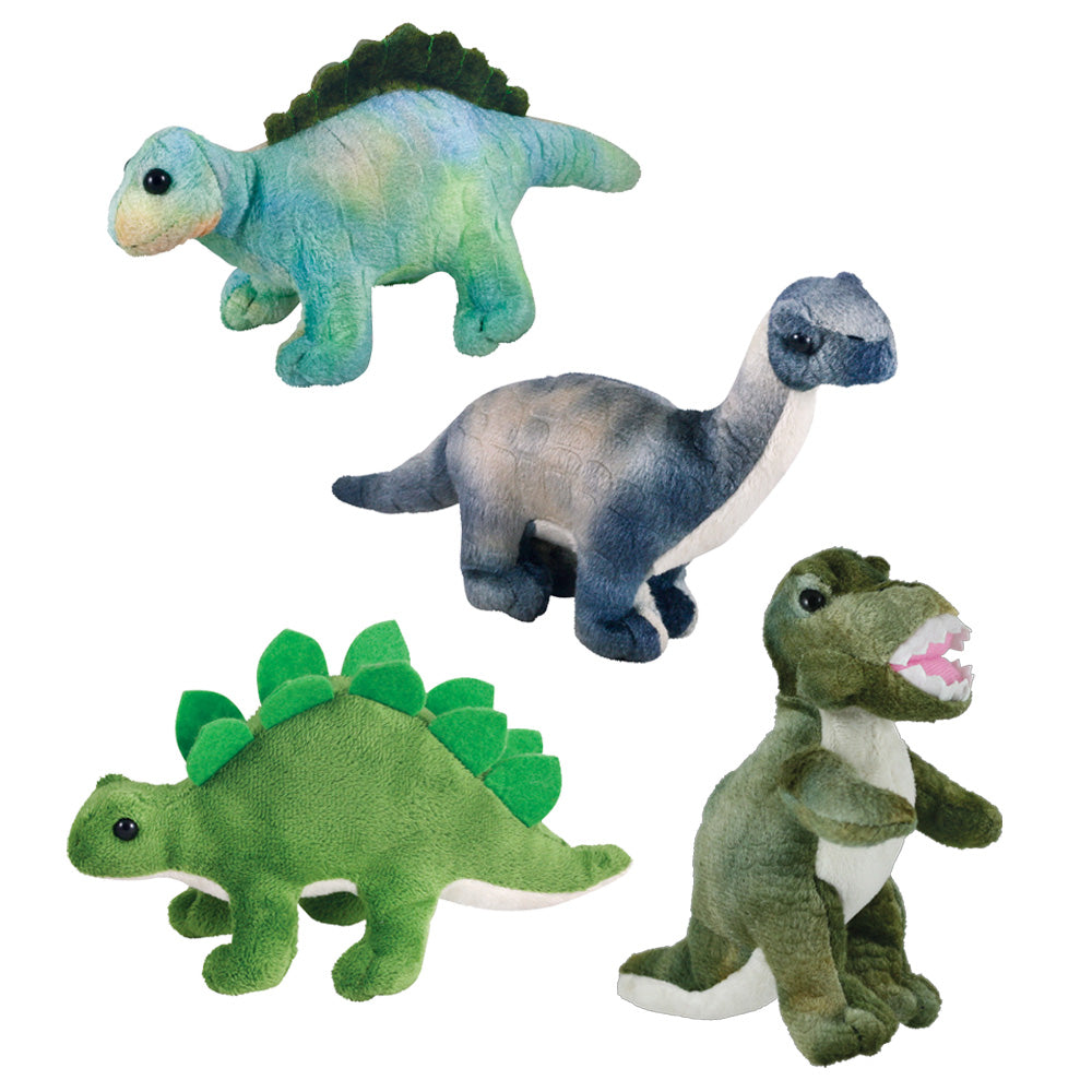 Set of 4 Super Soft Plush Stuffed Animal Dinosaurs featuring a T-Rex, Stegosaurus, Apatosaurus and Spinosaurus each measuring 7 inches long by Cuddle Zoo.