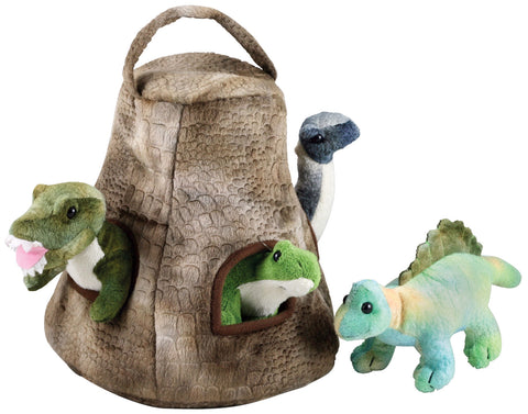 Super Soft Plush Stuffed Animal Dinosaur House with Carry Handle featuring a T-Rex, Stegosaurus, Apatosaurus and Spinosaurus each measuring 7 inches long by Cuddle Zoo.