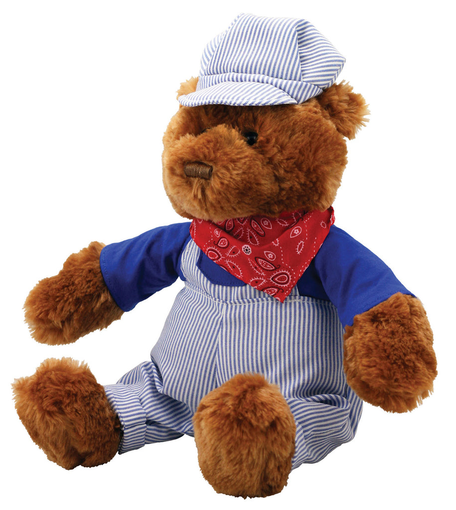 Super Soft Highly Detailed Plush Stuffed Animal Train Engineer Teddy Bear with Conductors Cap, Bandana and Striped Overalls measuring 18 inches Tall by Cuddle Zoo.