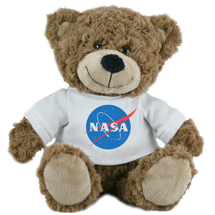 Super Soft Highly Detailed Plush Stuffed Animal Teddy Bear wearing a NASA Logo T-Shirt measuring 12 inches Tall by Cuddle Zoo.