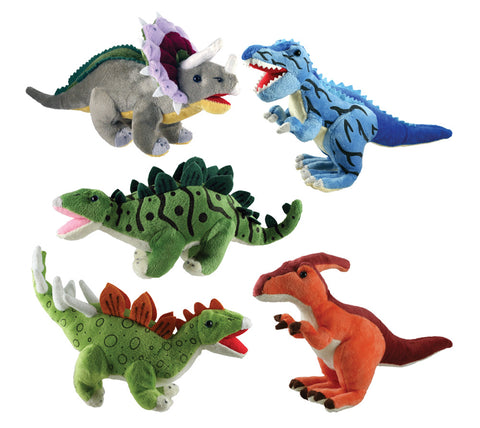 Set of 5 Super Soft Plush Stuffed Animal Dinosaurs featuring a T-Rex, Triceratops, Stegosaurus, Parasaurolophus and Kentrosaurus each measuring 12 inches long by Cuddle Zoo.