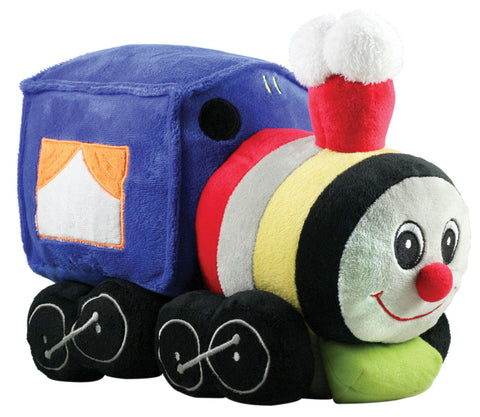 Super Soft Jumbo Plush Stuffed Animal Steam Locomotive with a Friendly Face and Embroidered Details measuring 12 inches long by Cuddle Zoo.