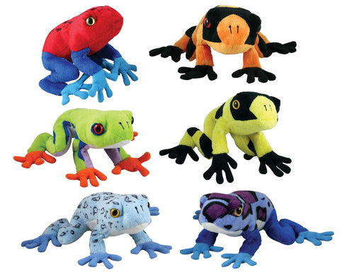 SET of 6 Super Soft Highly Detailed Colorful Plush Stuffed Animal Tree Frogs each measuring 7 inches long by Cuddle Zoo.