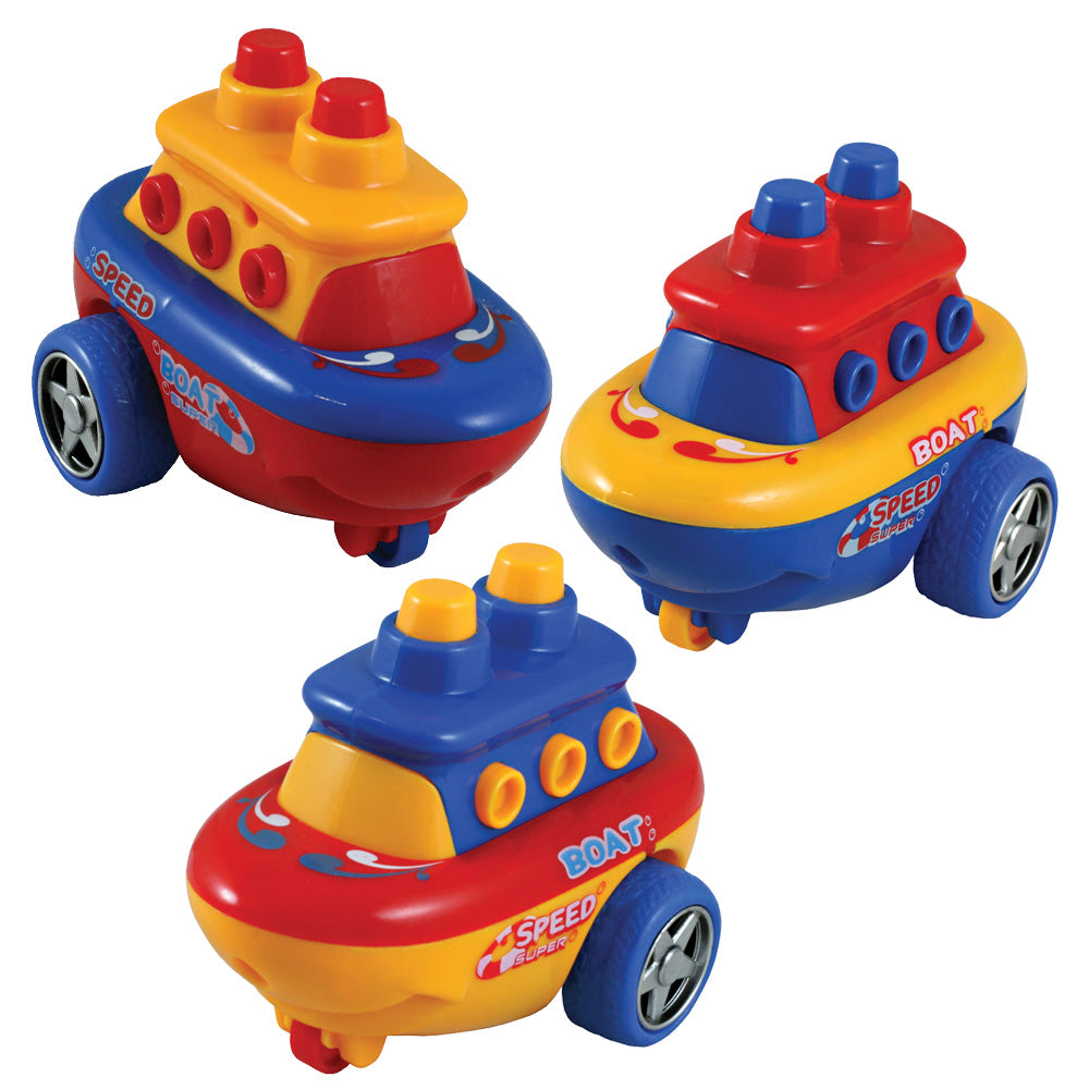SET of 3 Friction-Powered Brightly Colored Durable Plastic Boats that Spin Around and Change Direction upon Hitting an Obstacle.