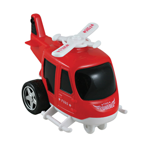 Friction-Powered Red Durable Plastic Helicopter that Spins Around and Changes Direction upon Hitting an Obstacle.