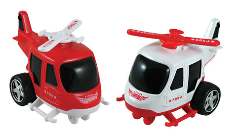 SET of 2 Friction-Powered Red and White Durable Plastic Helicopters that Spin Around and Change Direction upon Hitting an Obstacle.