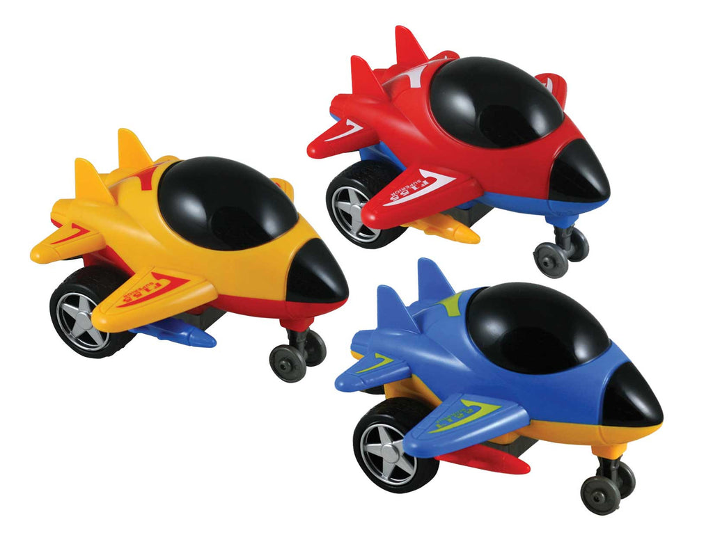 SET of 3 Friction-Powered Blue, Red and Yellow Durable Plastic Jets that Spin Around and Change Direction upon Hitting an Obstacle.