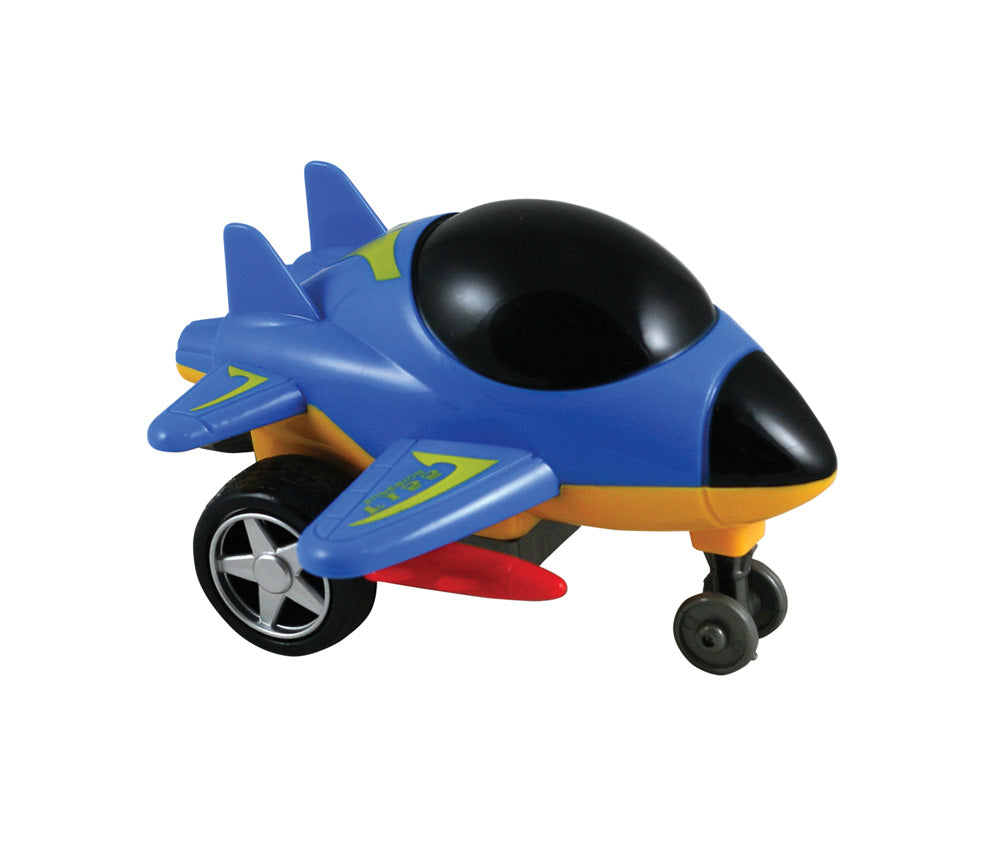Friction-Powered Blue Durable Plastic Jet that Spins Around and Changes Direction upon Hitting an Obstacle.