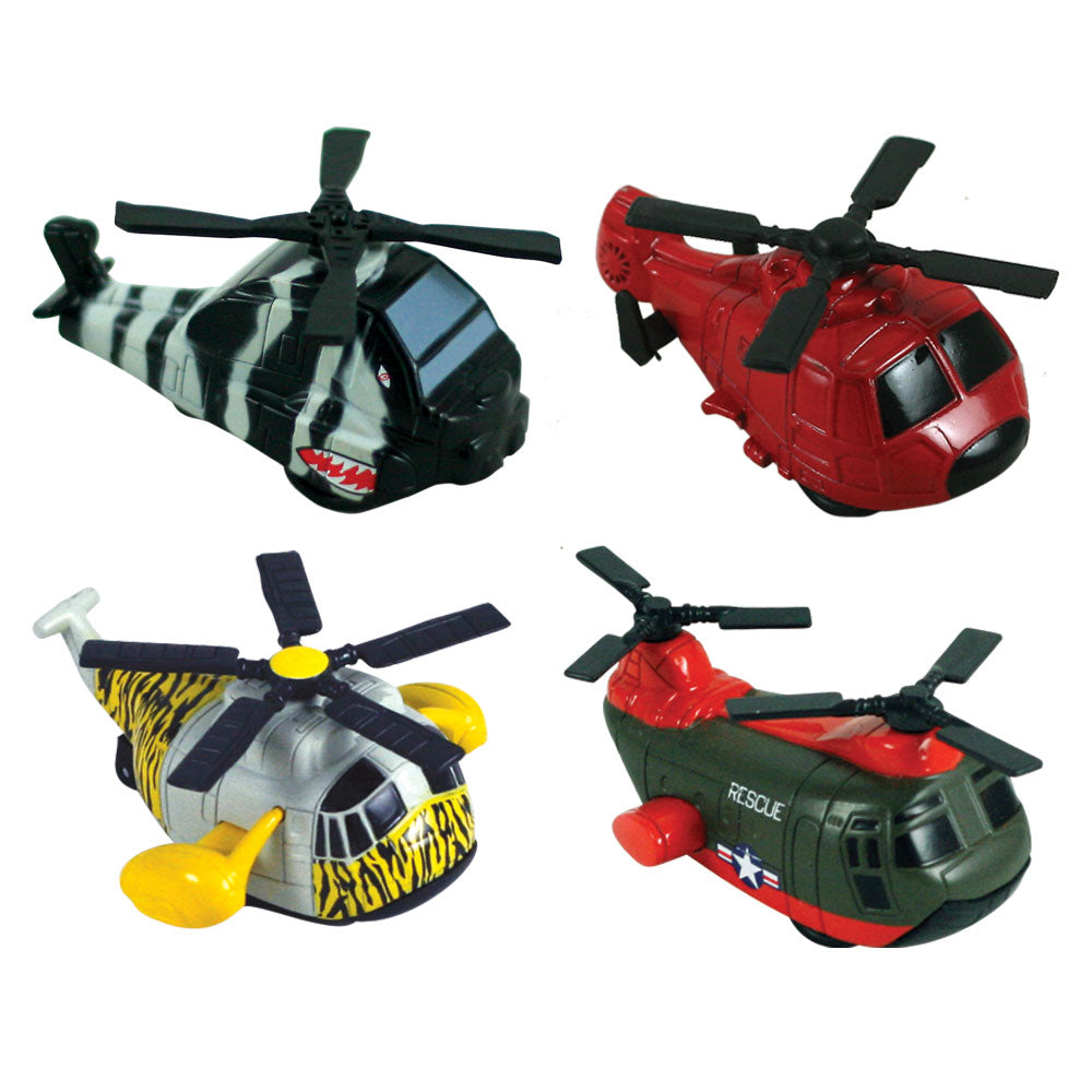 SET of Four 2.5 Inch Long Colorful Durable Die Cast Metal Helicopters with Spinning Rotors and Friction Powered Pullback Action.