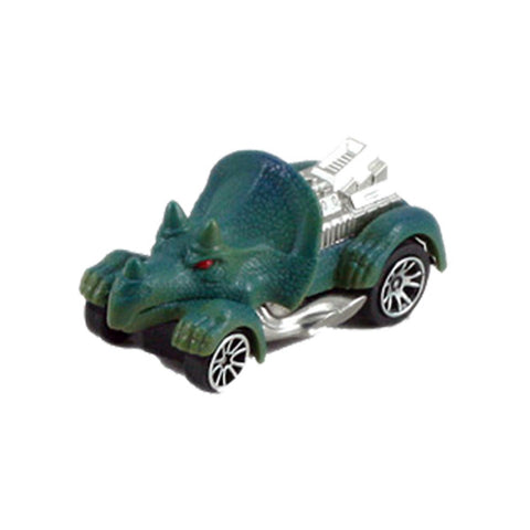Friction Powered Dinosaur Triceratops Matchbox Car with Glowing Red Eyes and Silver Accents.