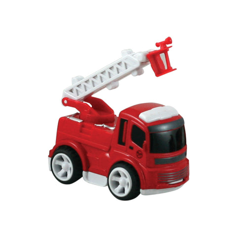 Friction-Powered Red Durable Plastic Fire Engine Featuring a Working Ladder measuring 3 Inches Long.
