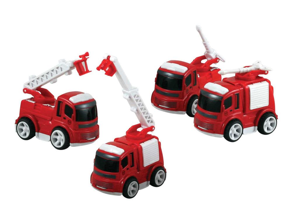 SET of 4 Friction-Powered Red Durable Plastic Fire Engines Featuring Fire Hoses and Working Ladders each measuring 3 Inches Long.