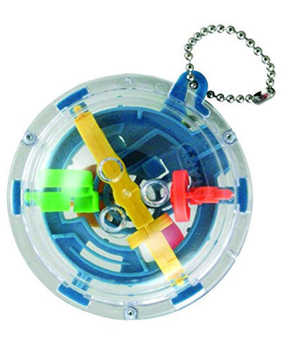 Plastic 3-Dimensional Keychain with Encased Metal Ball to be moved through a Challenging Maze.