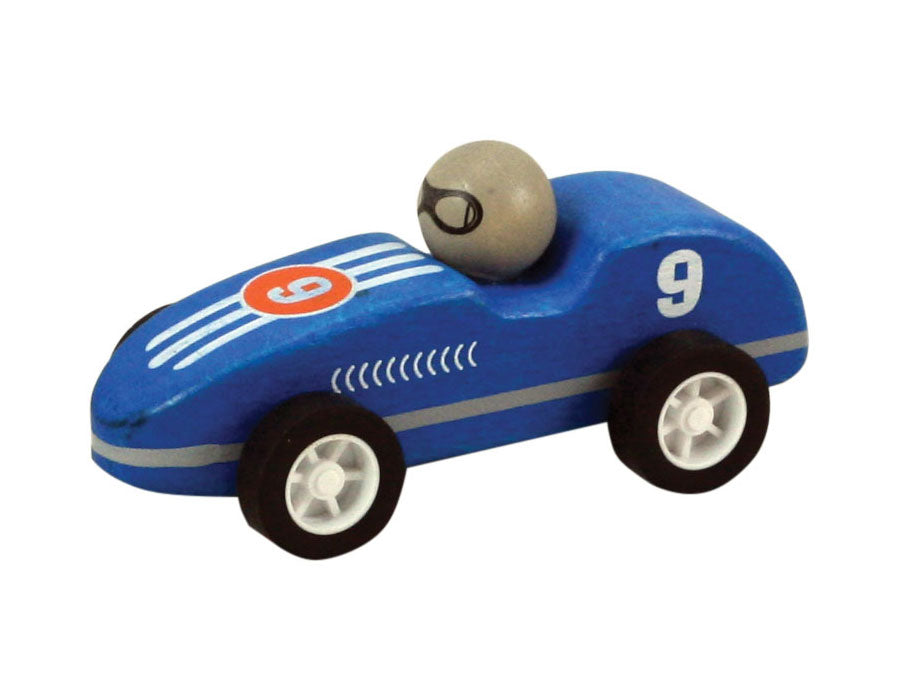 Blue Durable Wooden Friction Powered Pullback Race Car with the Number 9 measuring 4 Inches Long.