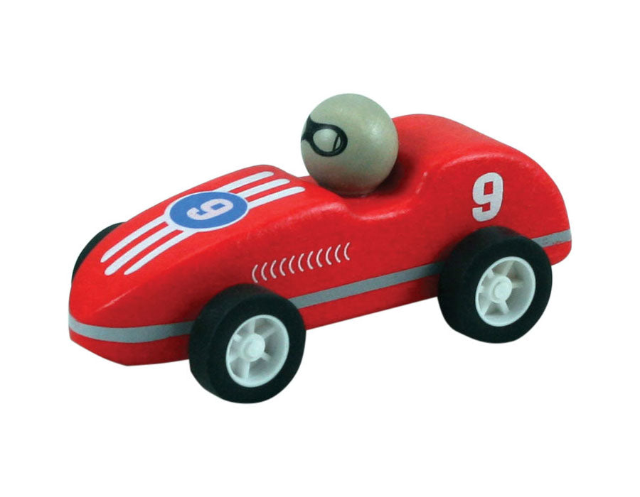 Red Durable Wooden Friction Powered Pullback Race Car with the Number 9 measuring 4 Inches Long.