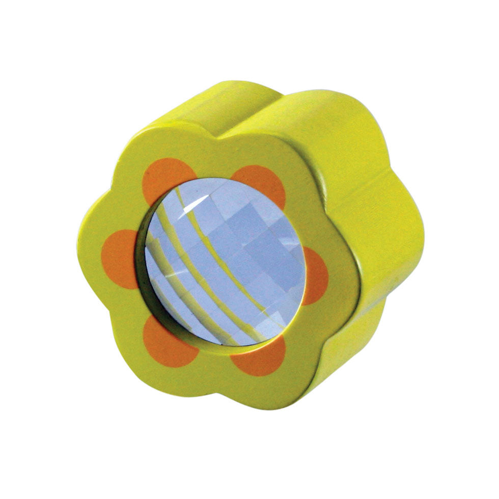 Brightly Colored Durable Wooden Prism Scope with Kaleidoscopic Effect  when viewed Through measuring 2-3 Inches Long available in 4 Assorted Styles.