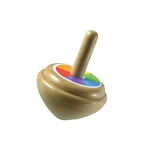 2.5 Inch Brightly Colored Durable Wooden Spinning Top. Wood harvested from government approved reforested land.