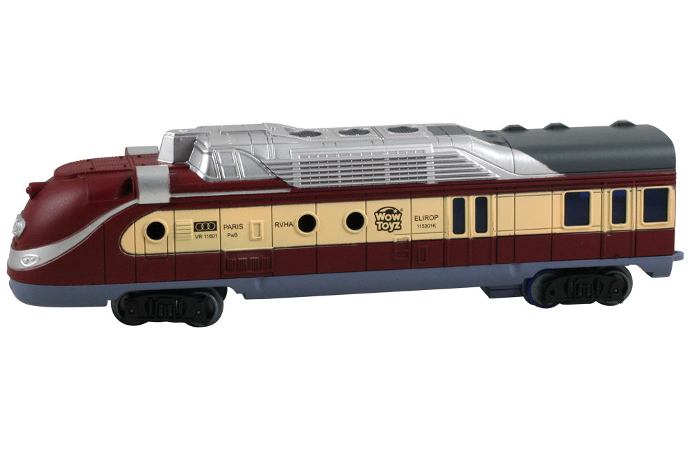 9 Inch Battery Powered Light Up Diesel Engine with Authentic Train Sounds to be used with the WowToyz 14, 20 and 40 Piece Classic Hobby Model Train Sets.