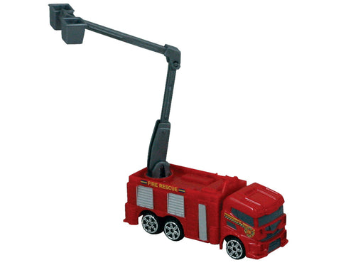 Red Durable Die Cast Metal and Plastic Fire Engine with Working Lift measuring Approximately 3 Inches Long by RedBox / Motormax.