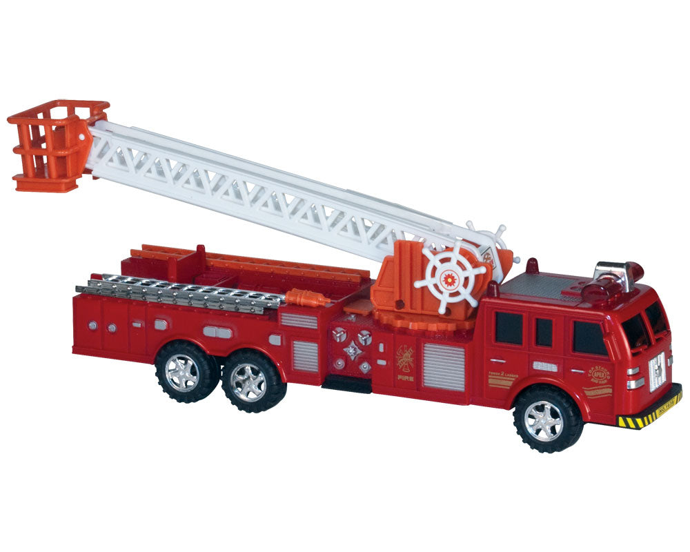Durable Plastic Red 12 Inch Push and Go Friction Powered Fire Engine with 13 Inch Rotating Extendable Ladder.