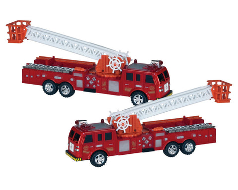 Set of 2 Durable Plastic Red 12 Inch Push and Go Friction Powered Fire Engines with 13 Inch Rotating Extendable Ladders.